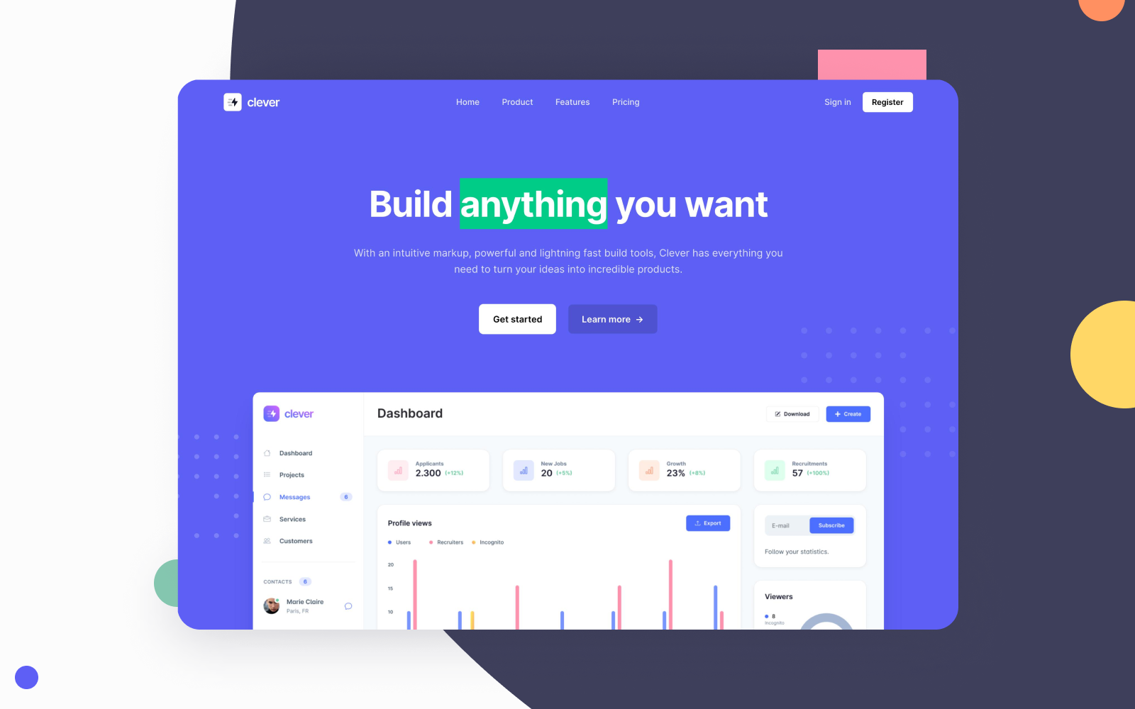 Bootstrap templates, landing pages, and pricing sections